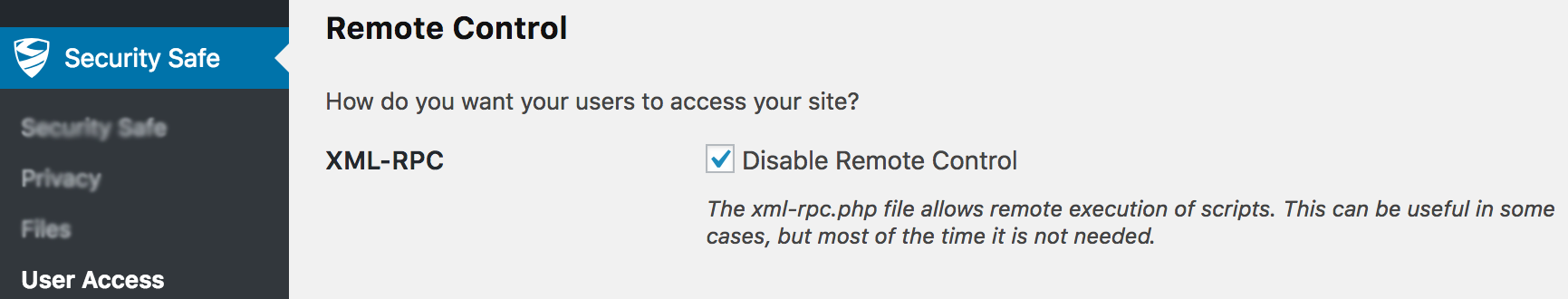 WordPress Disable XML-RPC Using Security Safe Plugin