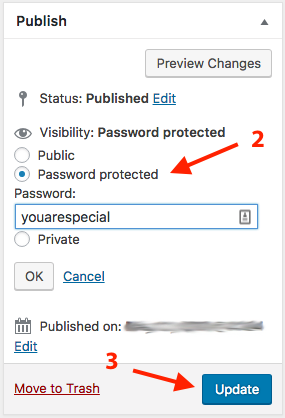 WordPress Password Protect Page Steps 2 & 3